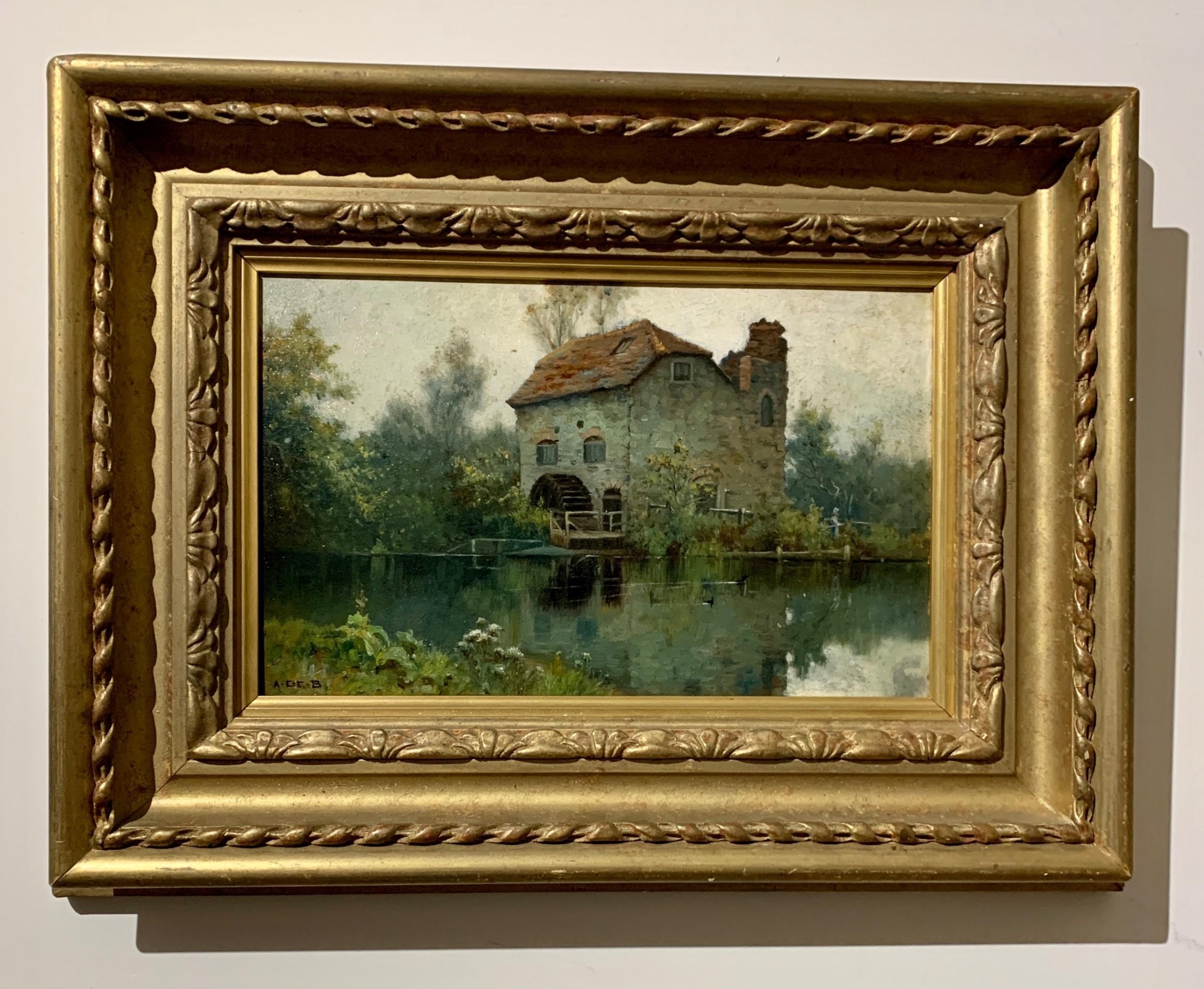 alfred de breanski junior antique english late 19thcentury victorian oil watermill with a landscape in surrey