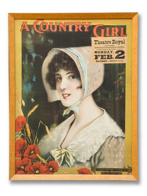framed original edwardian theatre poster