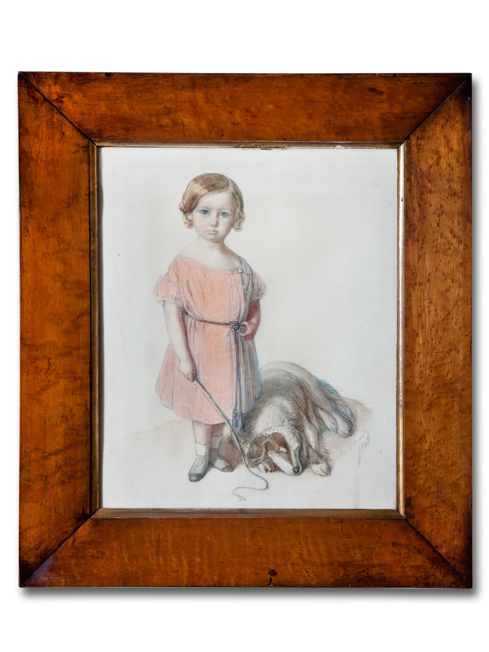 signed victorian watercolour of a child with pet dog