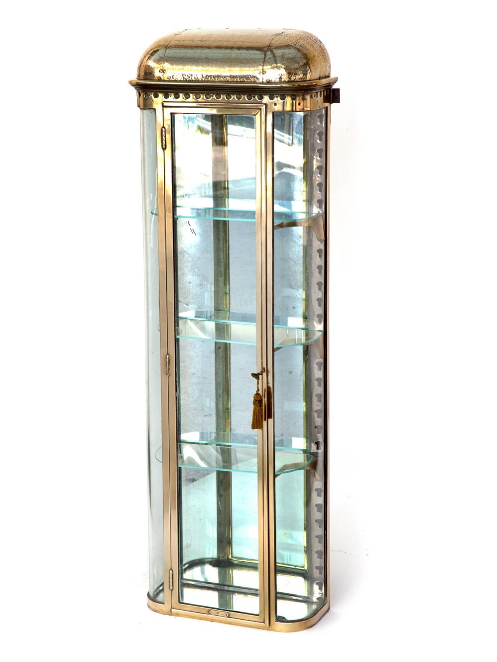 french brass belle epoque curved glass shop display cabinet