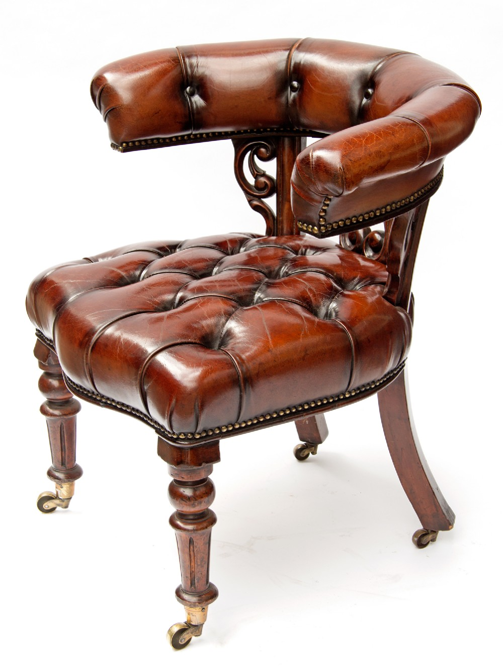 mahogany framed deep button leather library or desk chair