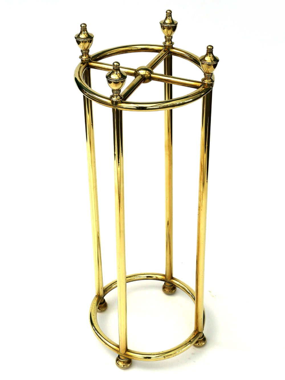 antique brass circular four section stick stand