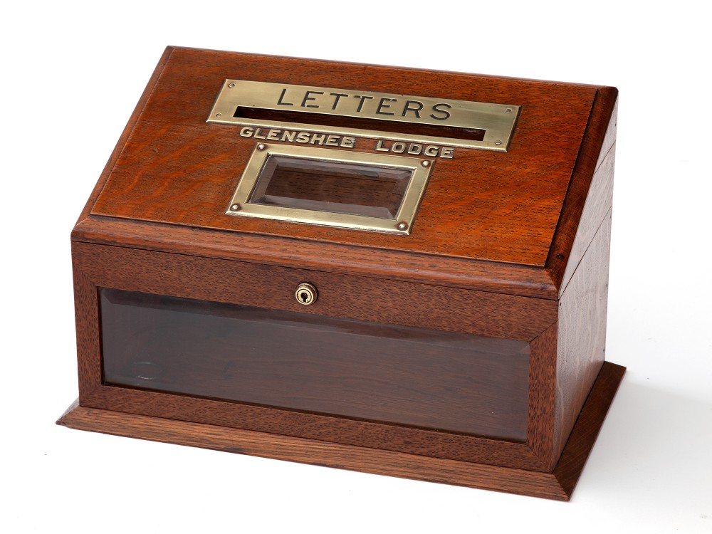 polished oak and brass mounted scottish country house letter box