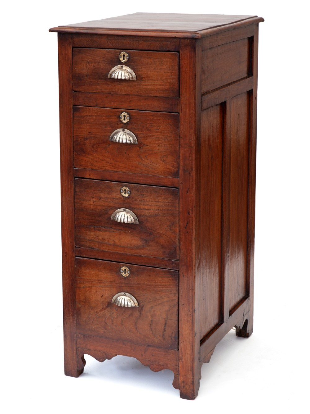 polished walnut shop chest with four graduated drawers and original brass scallop handles