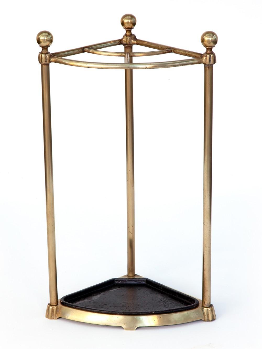 small brass corner stick stand with removable drip tray