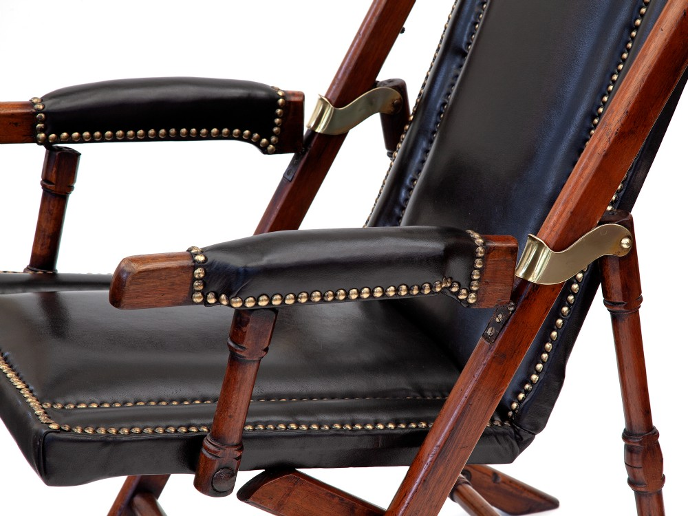 Teak And Black Leather Folding Steamer, Folding Leather Campaign Chair