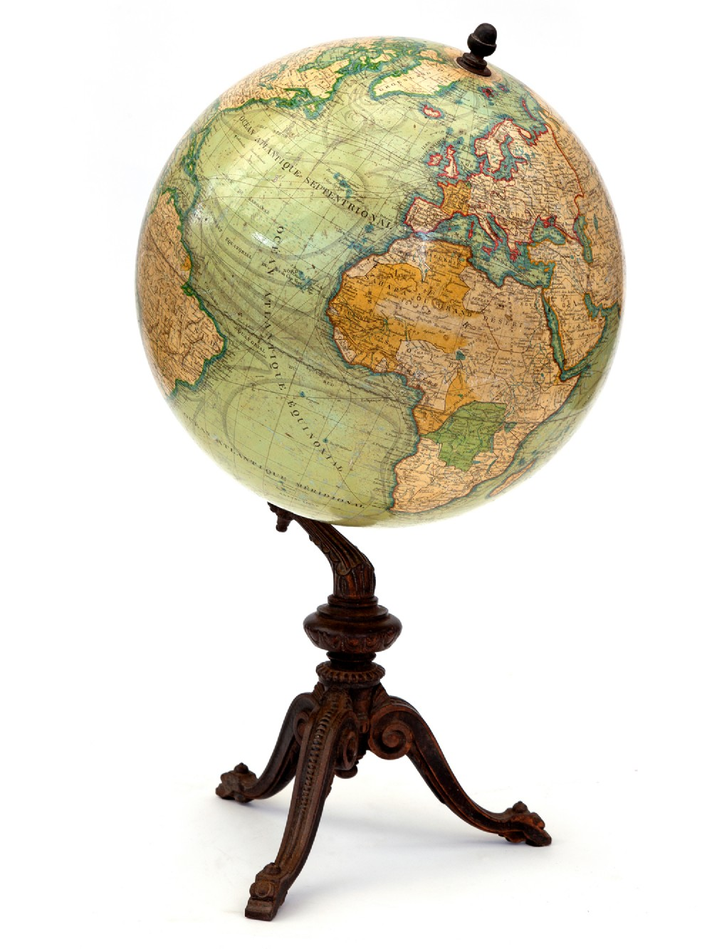 beautifully coloured antique 12 french terrestrial globe