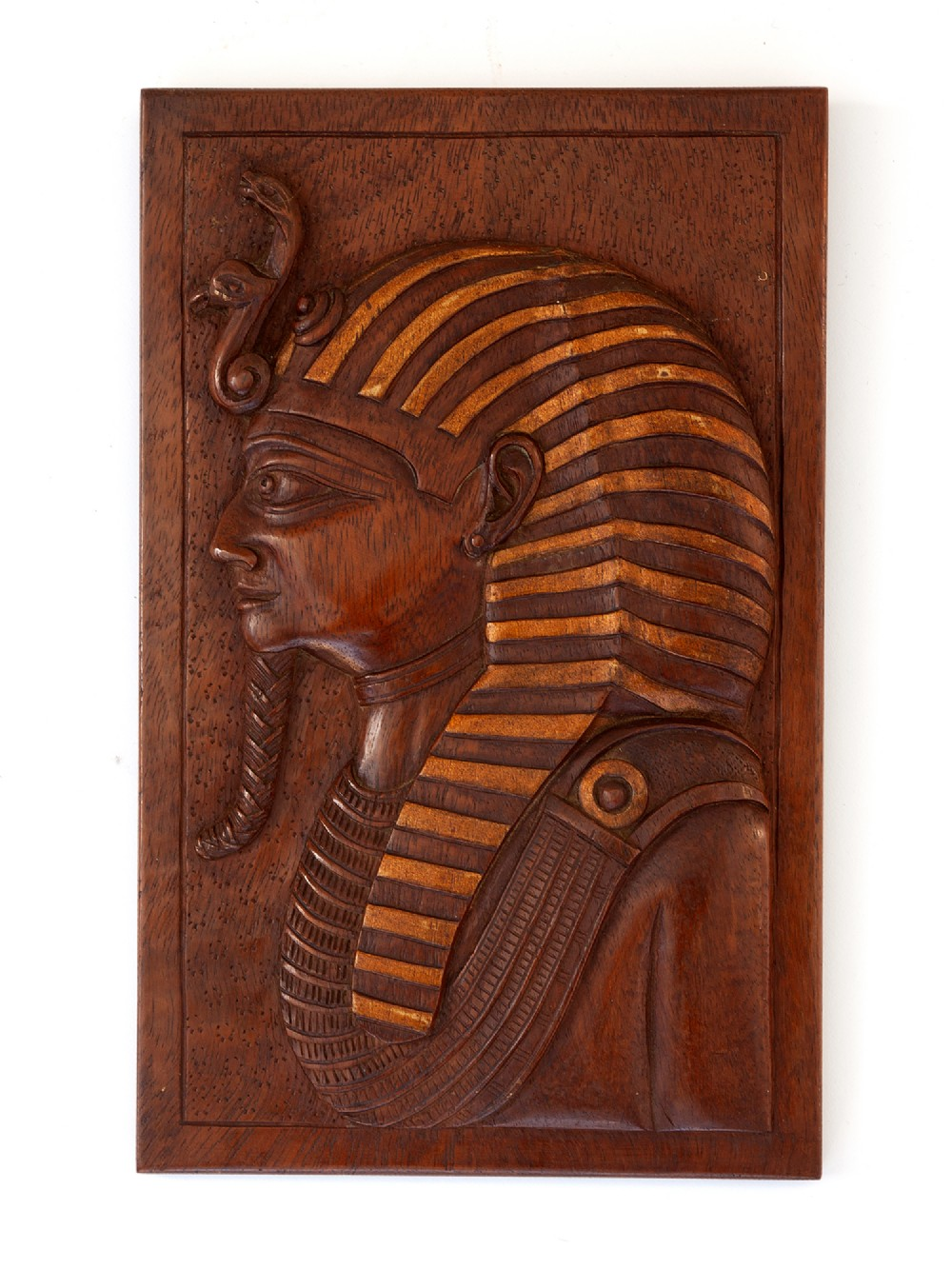 finely relief carved mahogany pharaoh plaque