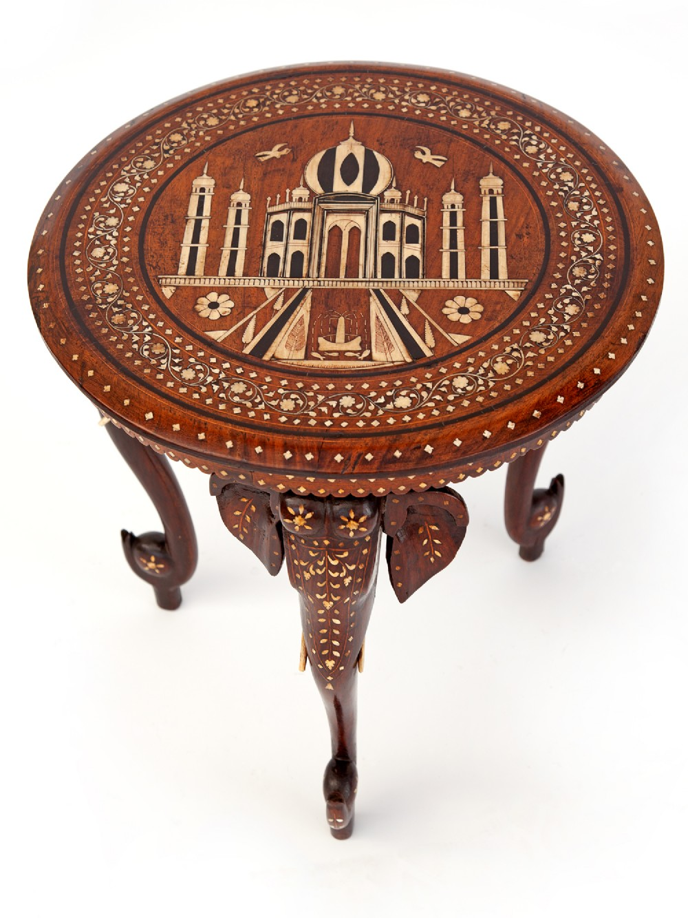 antique inlaid teak hoshiarpur elephant tripod taj mahal table