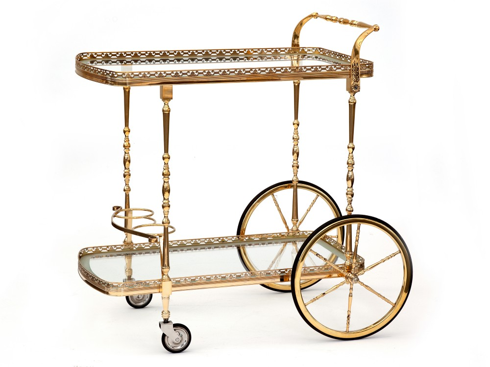 brass two tier bar cart with integrated bottle holders