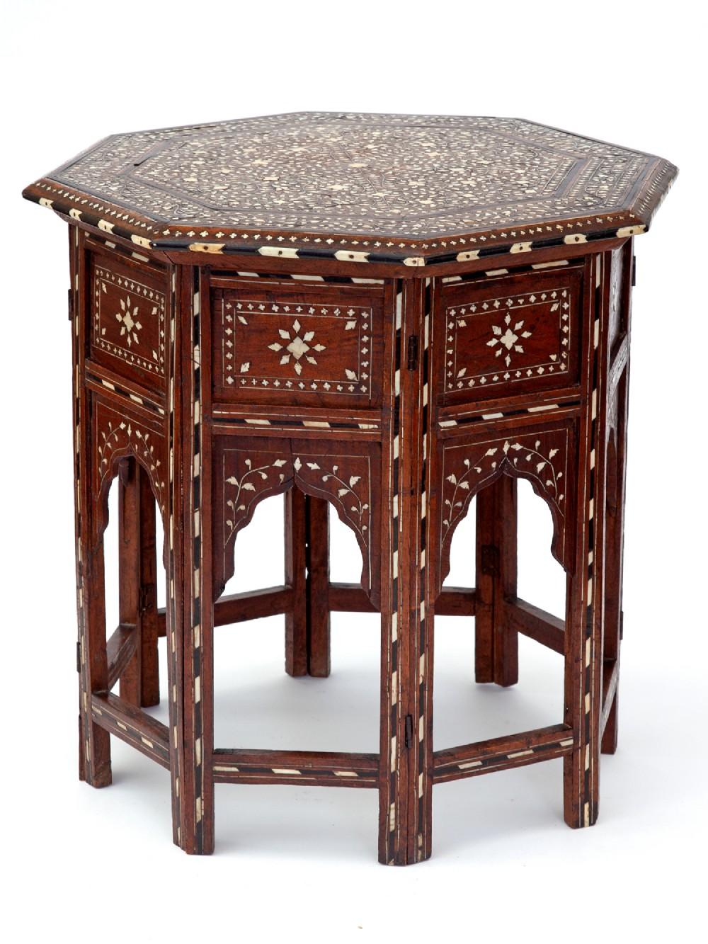 profuse sheesham wood octagonal hoshiapur folding table