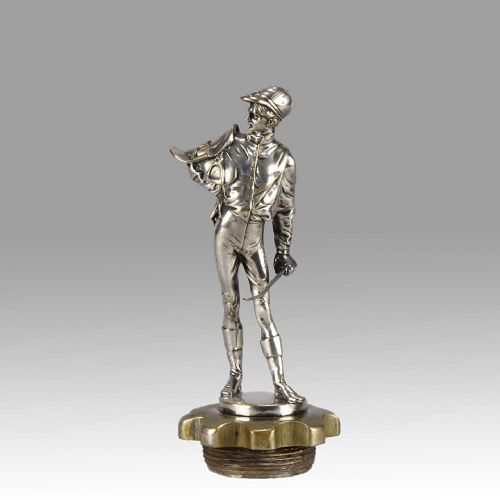 silvered bronze car mascot 'jockey' by eugene lalouette