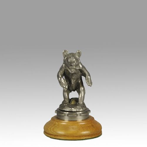 early 20th century silvered bronze bear car mascot by charles paillet