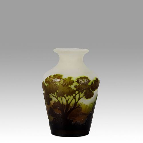 french art nouveau cameo glass green landscape vase by emile galle