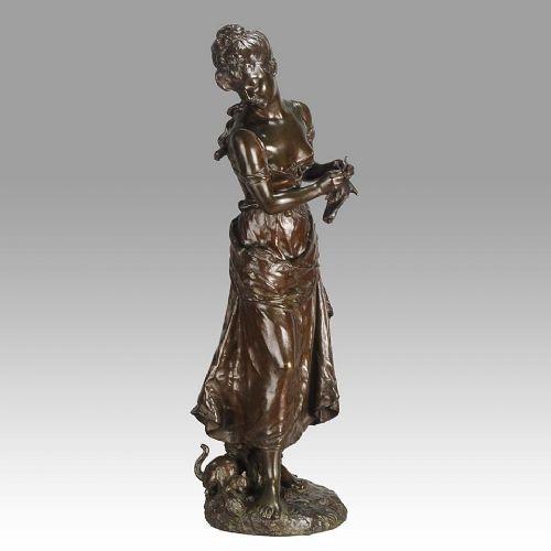 french art nouveau bronze figure femme avec chat by h moreau