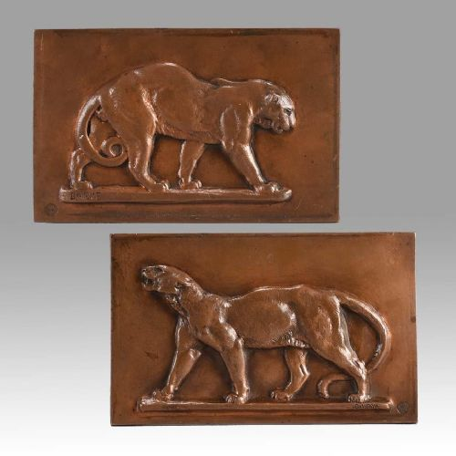 late 19th century animalier bronze 'leopard and panther' plaques by antoine l barye