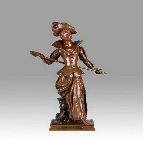 french art nouveau bronze figure 'seraphina' by charles vitalcornu