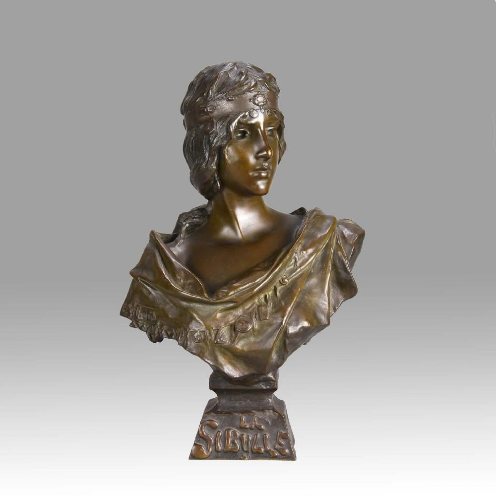 art nouveau bronze bust entitled sibylle by emmanuel villanis