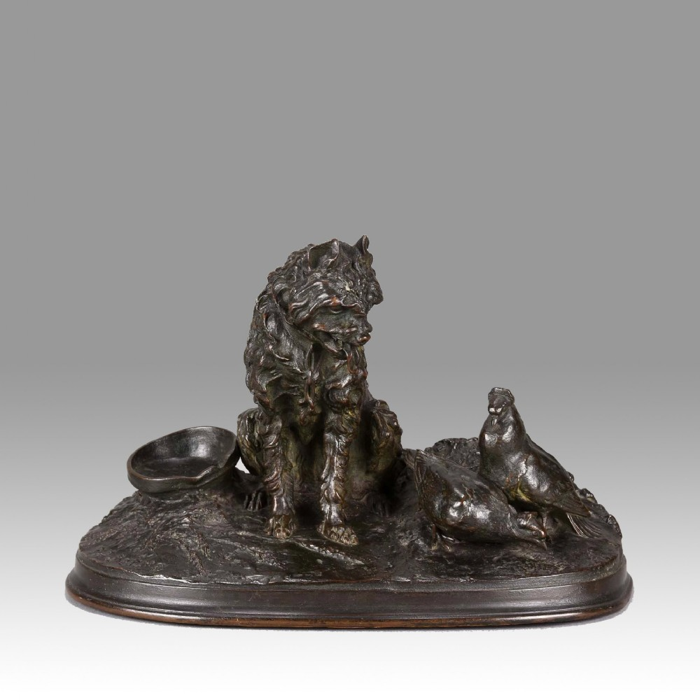 french animalier bronze group chien et pigeon by pierre jules mne