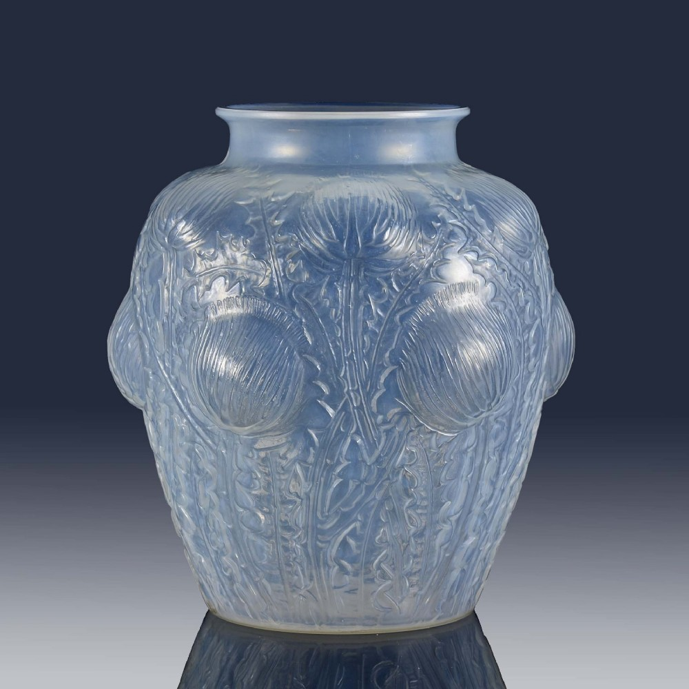 art deco opalescent glass vase entitled domremy by rene lalique