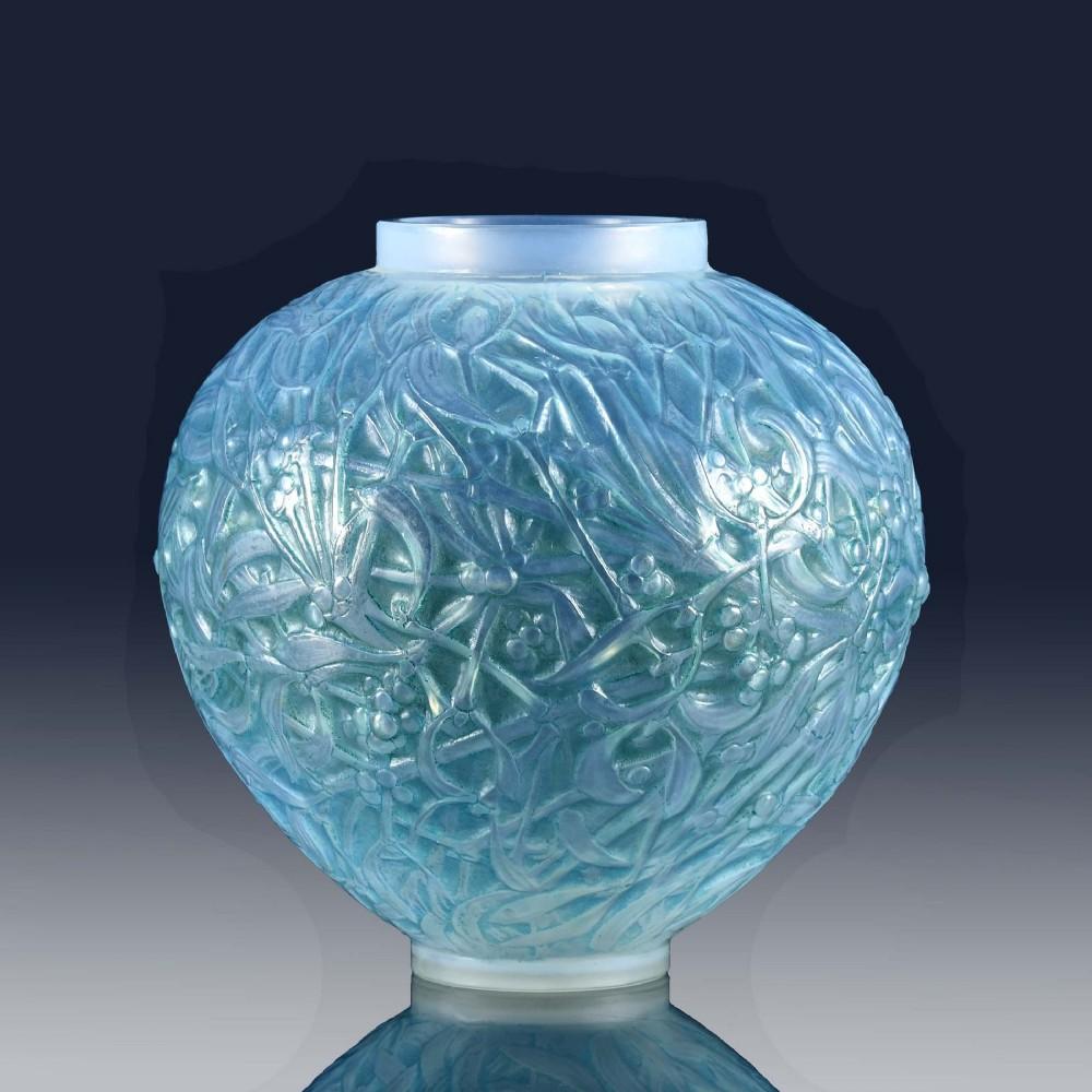 french art deco opalescent glass vase blue gui by ren lalique