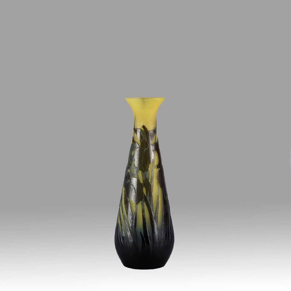 art nouveau cameo glass vase 'water lilies' by emile galle