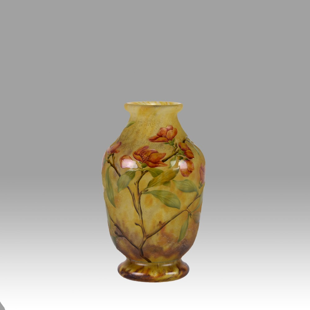 french cameo glass flower vase by daum freres