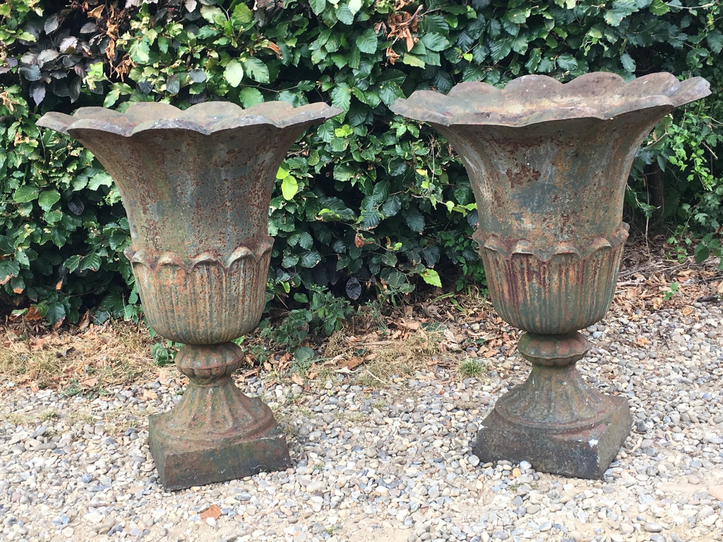 Large Pair Of Victorian Cast Iron Garden Urns 635417 Sellingantiques Co Uk