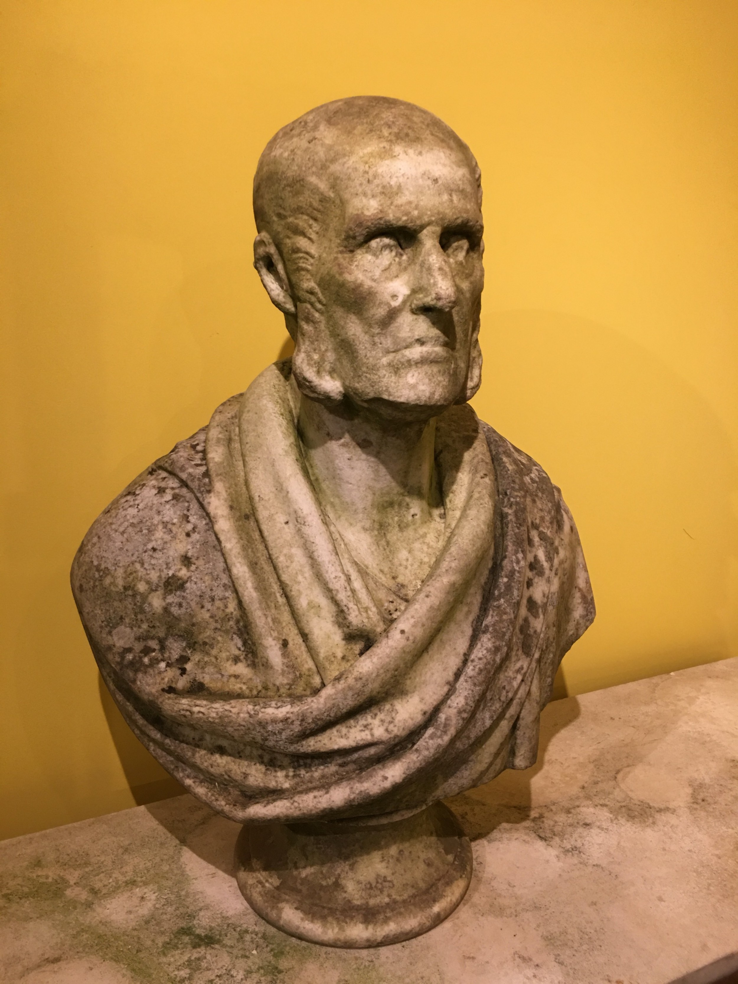 weathered marble 19th century male bust