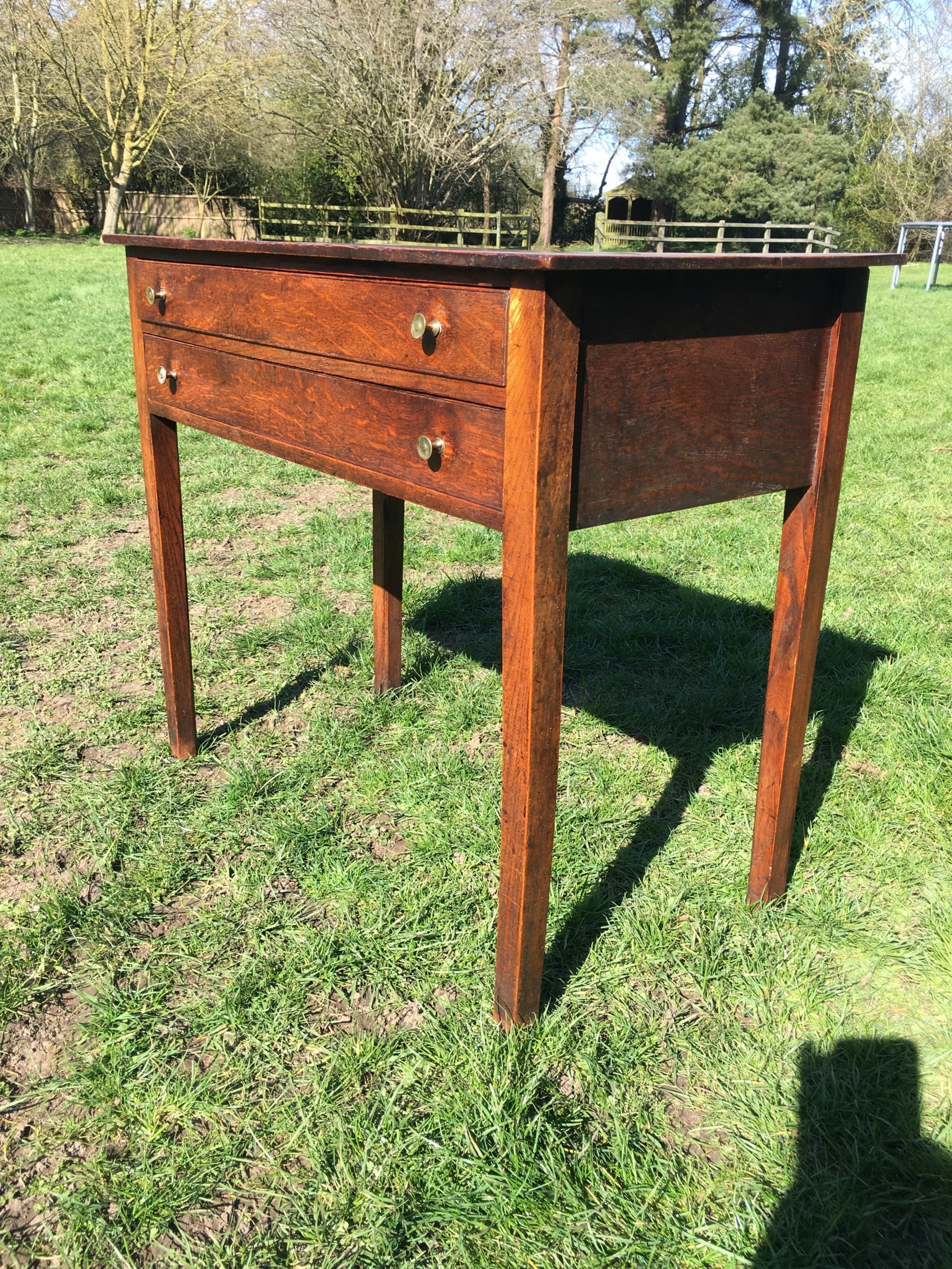 18th century provincial oak two drawer side table