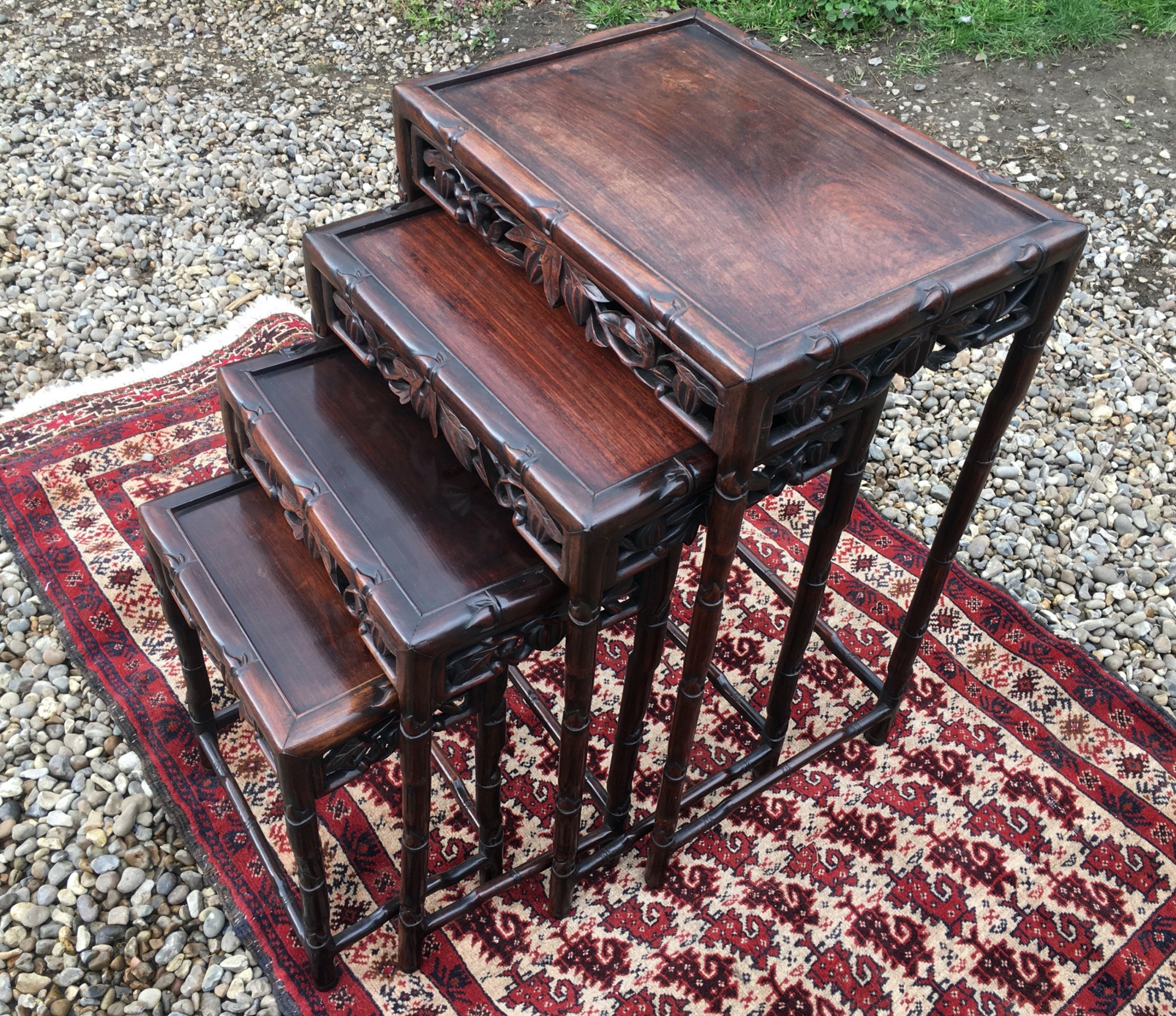 late 19th century chinese carved hardwood quartetto of tables