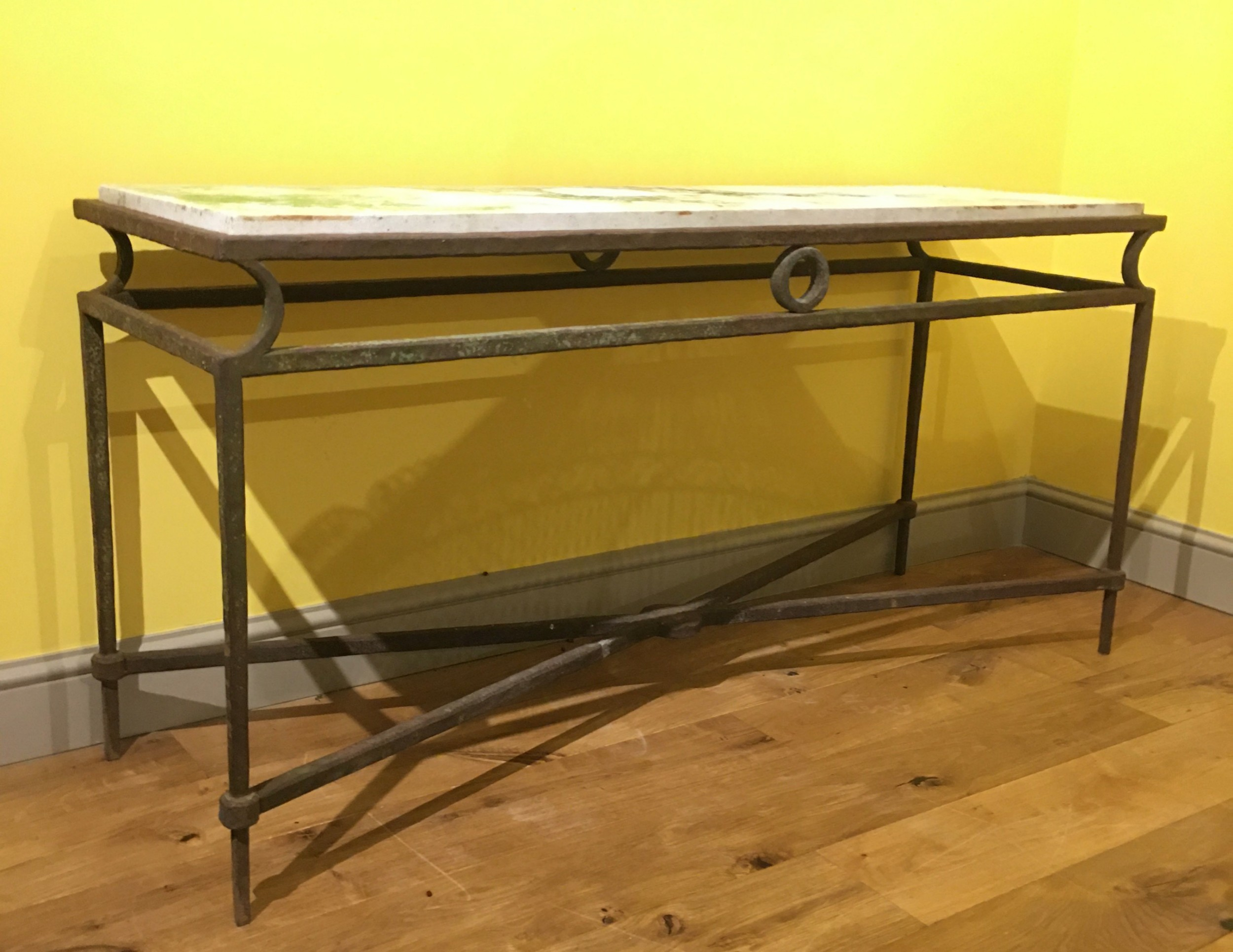 late victorian marble and iron console table