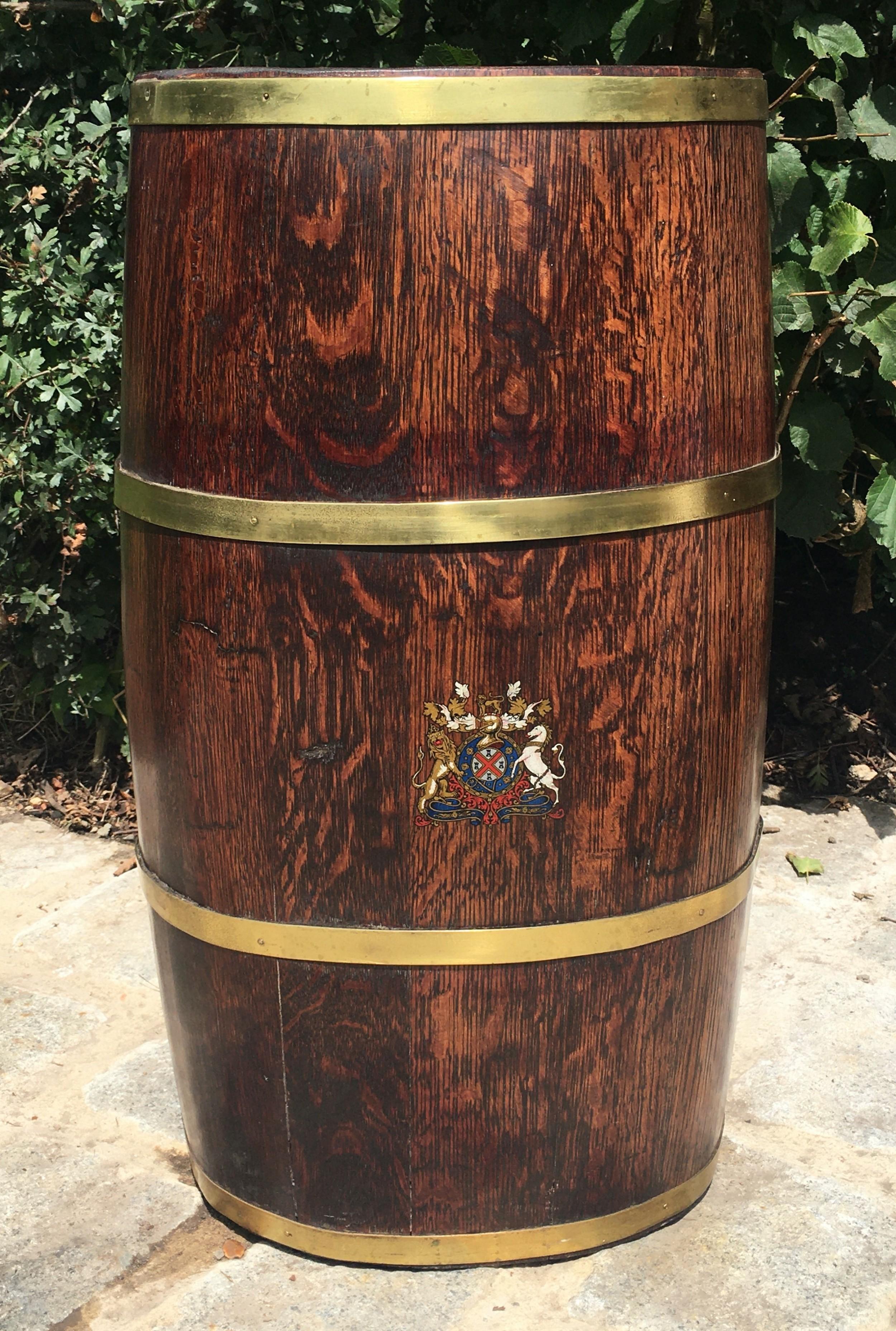 victorian coopered oak brass bound barrel stick stand