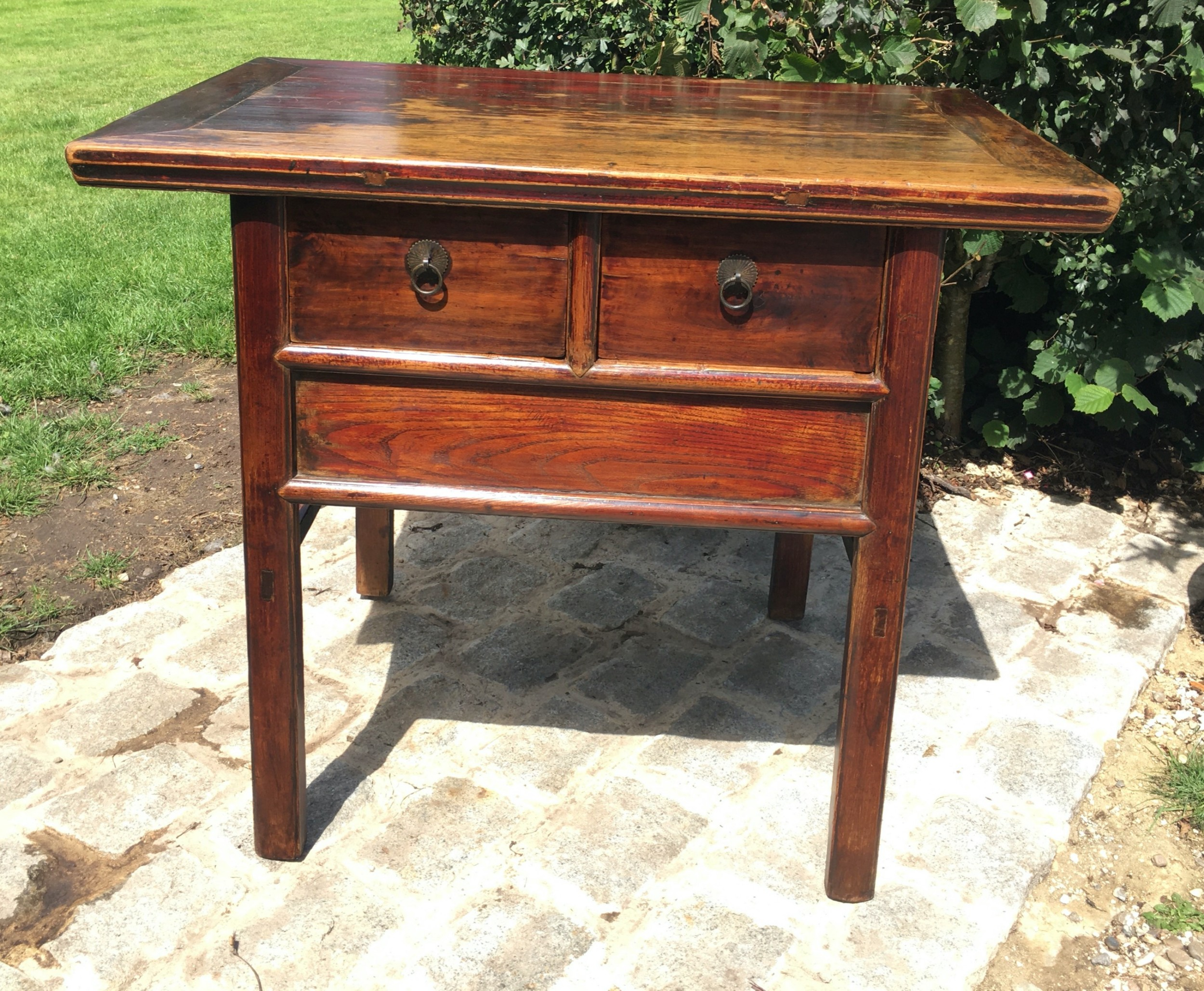 late 19th century two drawer red lacquered elm altar table