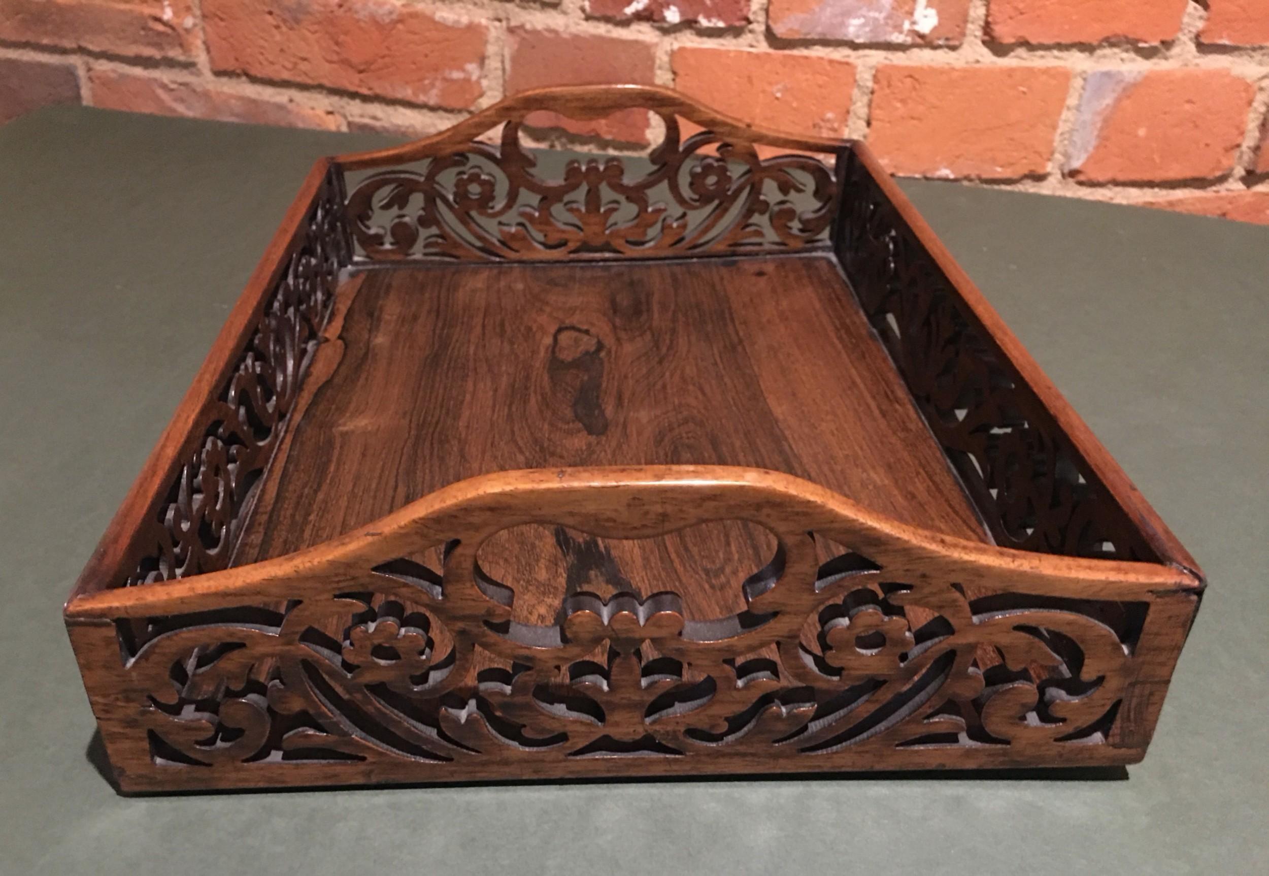 regency rosewood desk tidy tray