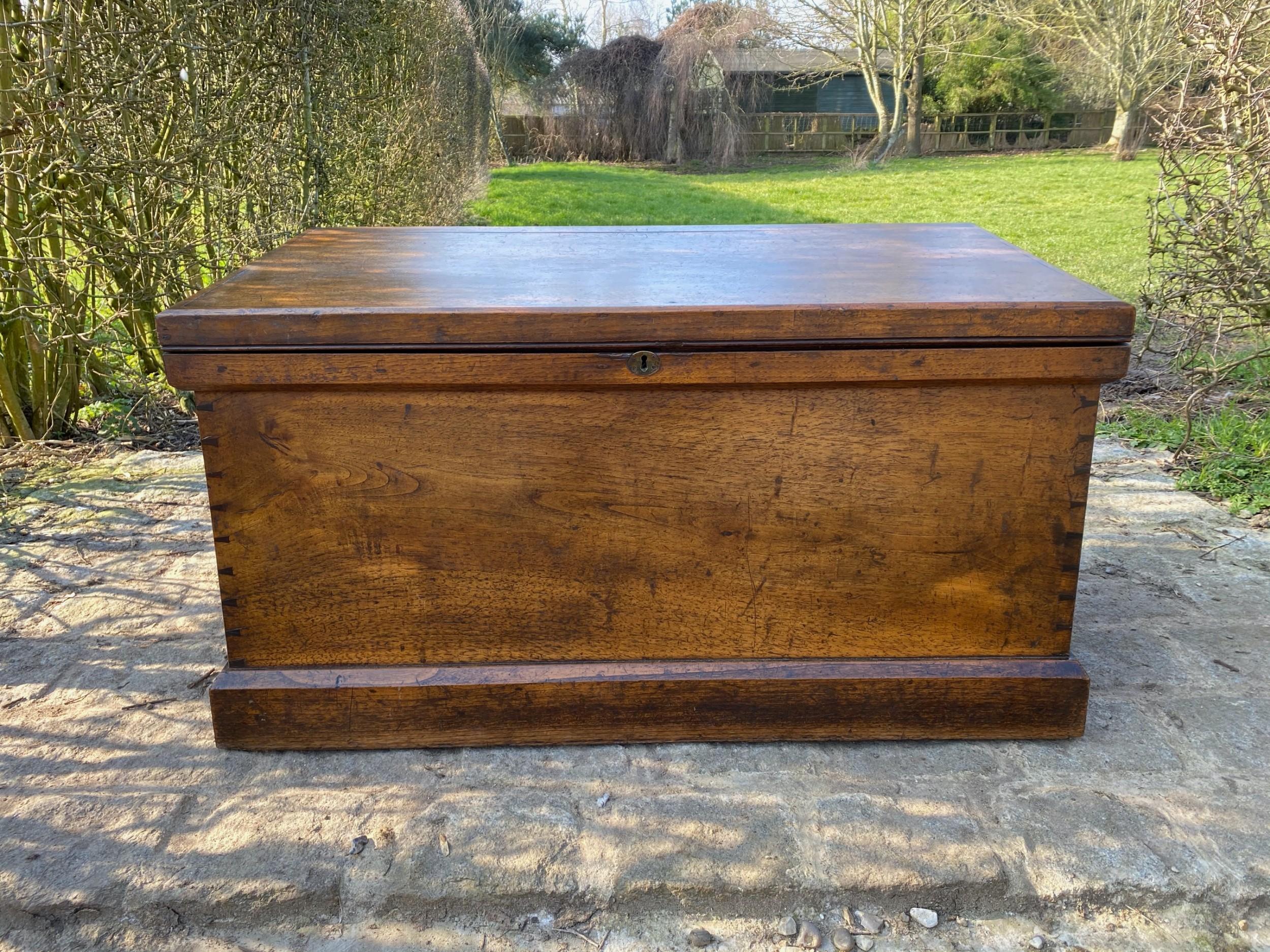 19th century teak seachest trunk