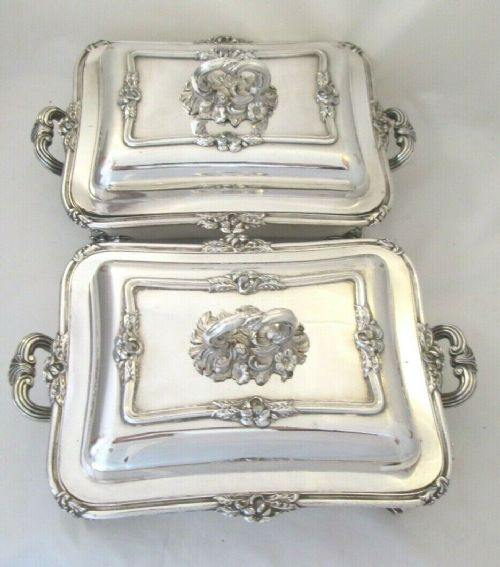 pair of old sheffield plate serving tureens on warming dishes c1820