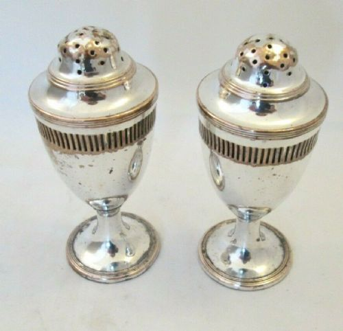 pair of georgian old sheffield plate sugar shakers dredgers with glass liners