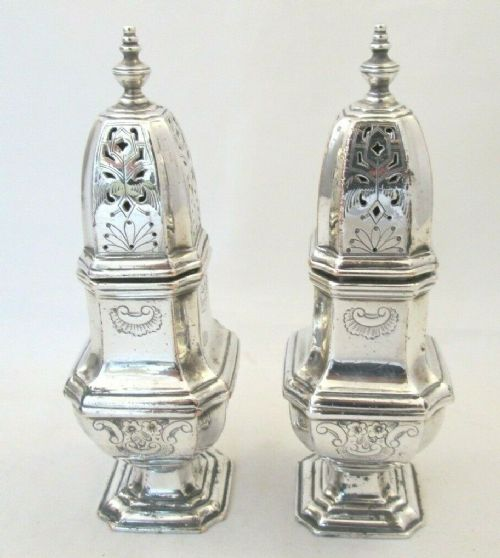 pair of 19thc old sheffield plate sugar shakers sifters c1820