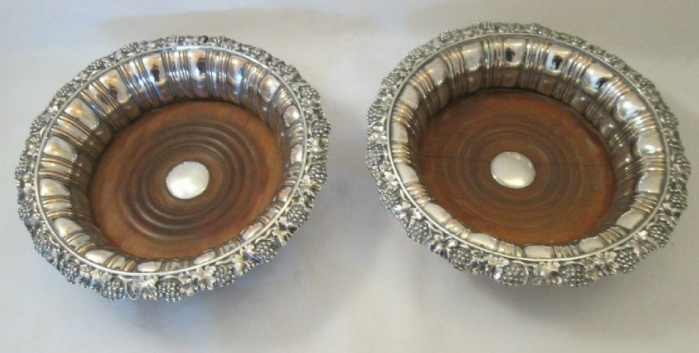 pair of 19thc old sheffield plate wine bottle coasters c1830