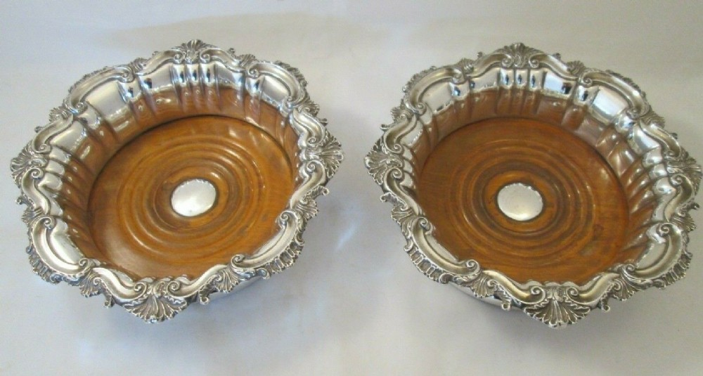 large pair of 19thc old sheffield plate wine bottle coasters c1830