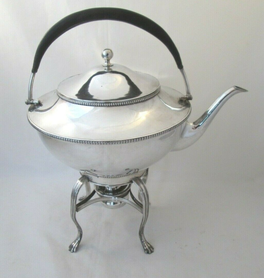 large 19thc antique silver plate spirit kettle on stand