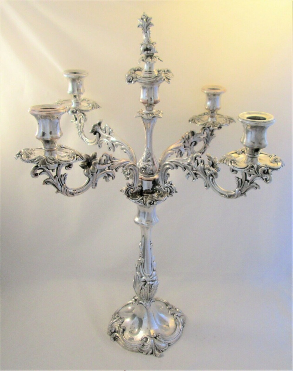 large 5 branch old sheffield plate candelabra by dixon sons c1830