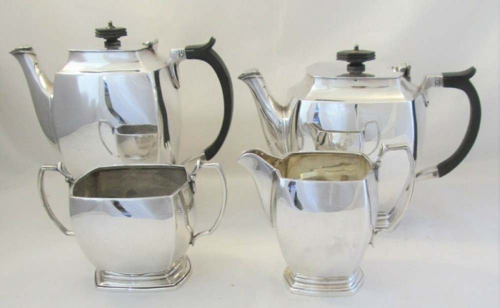 4 piece silver plated art deco tea set cooper bros