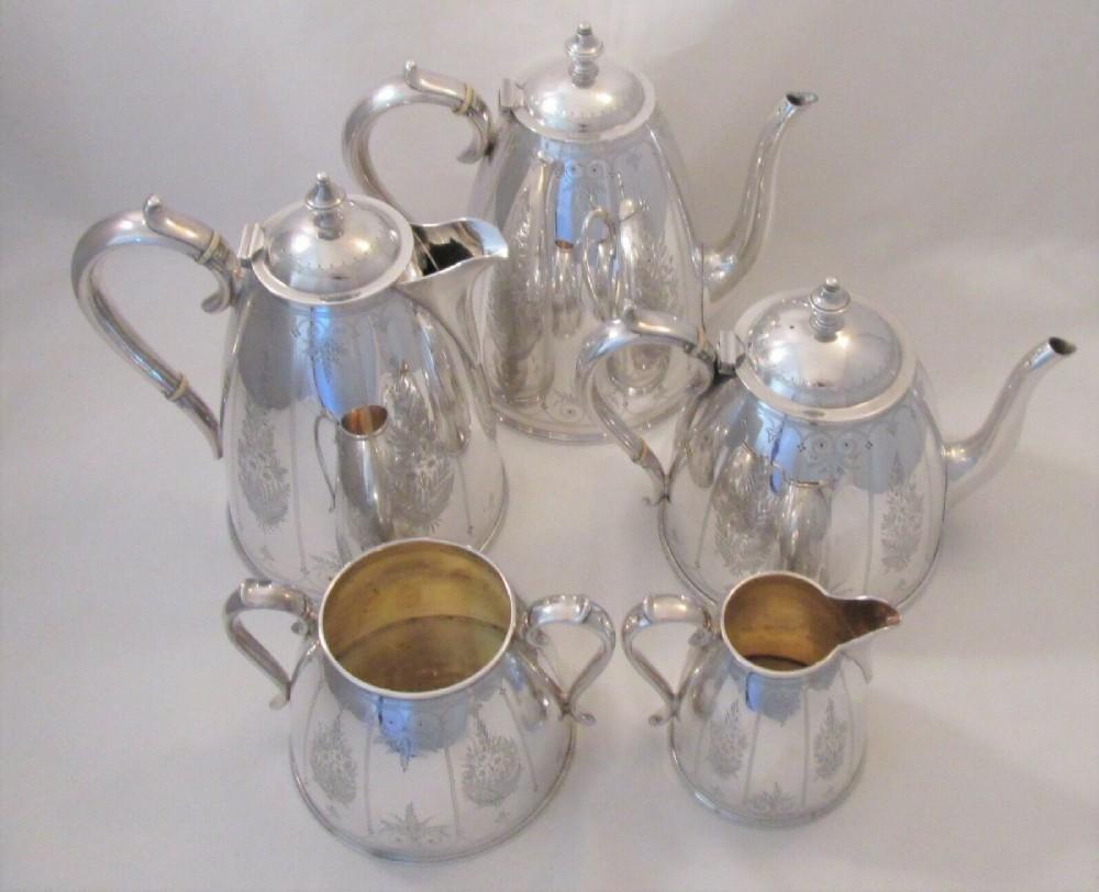 fine 5 piece silver plate tea set by elkington c1900