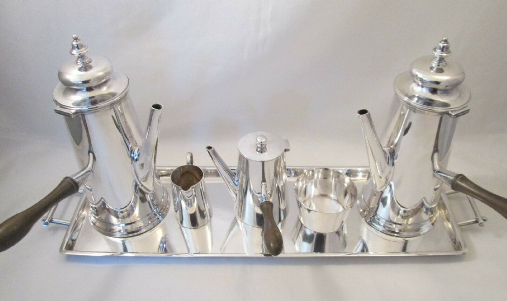 art deco piece silver plated chocolate coffee set