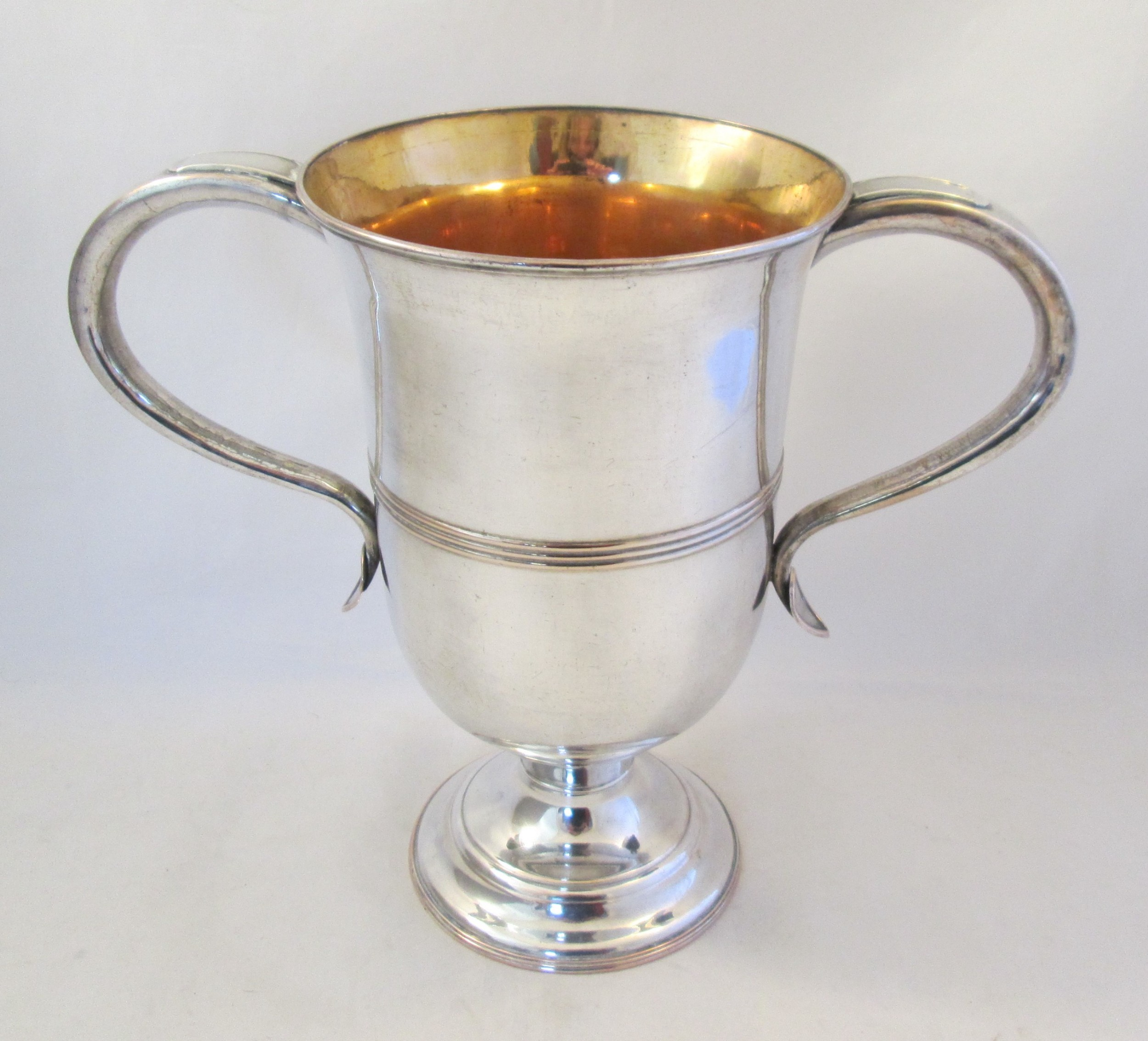 a large 18th century old sheffield plated loving cup trophy