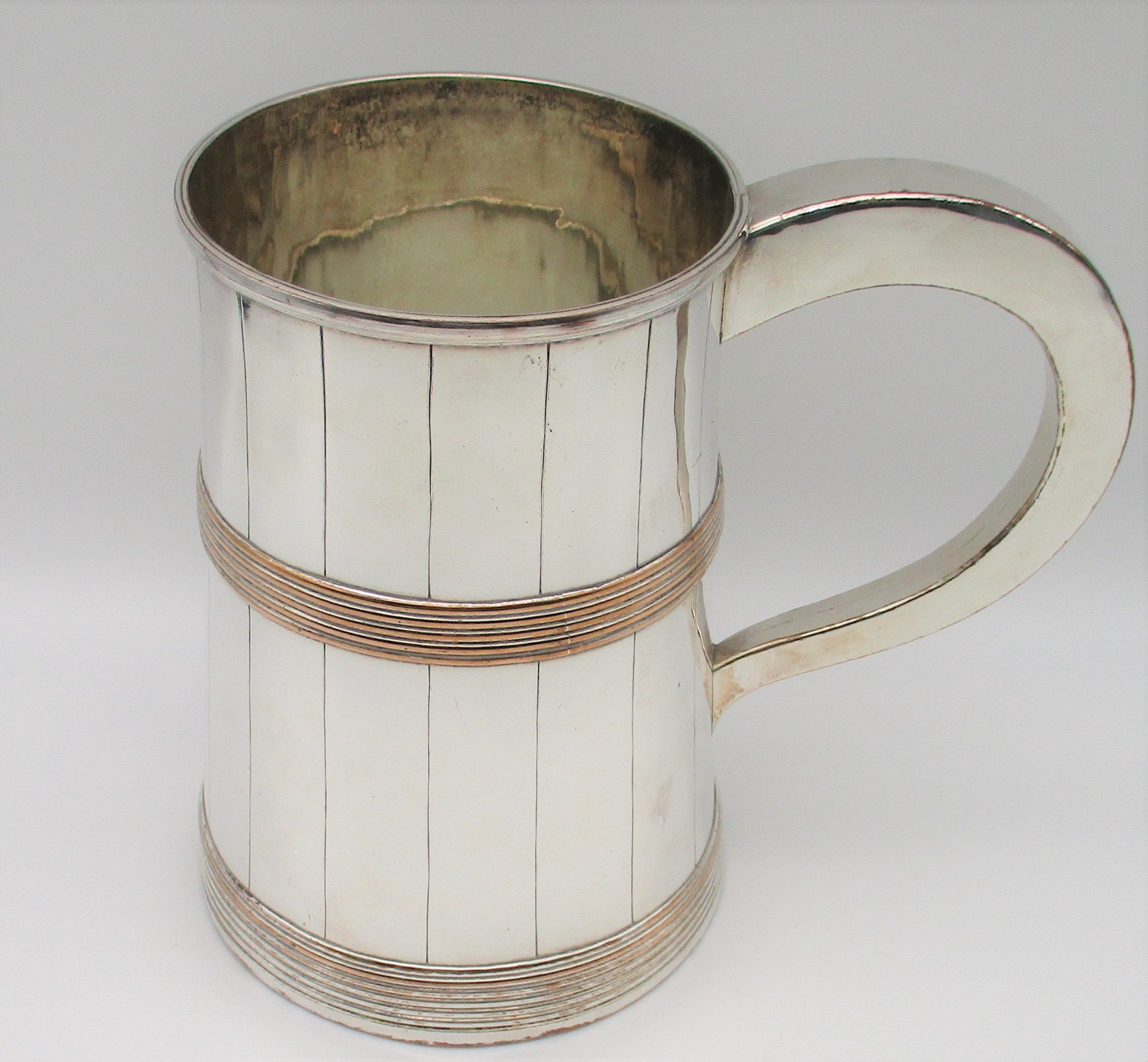 unusual large old sheffield plated tankard c1840