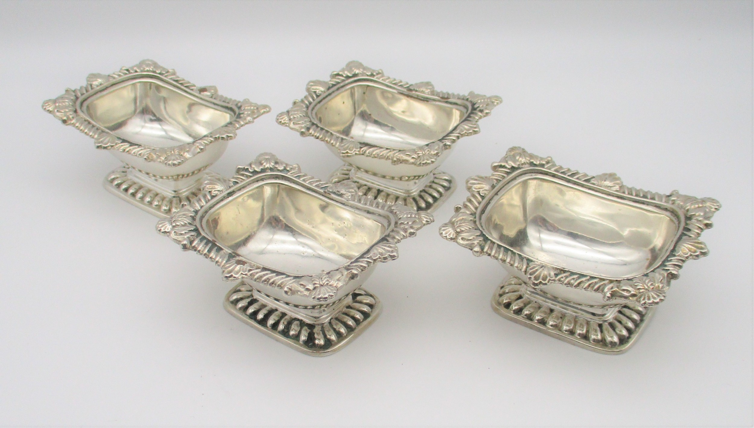 good set of 4 19th century silver plated salts