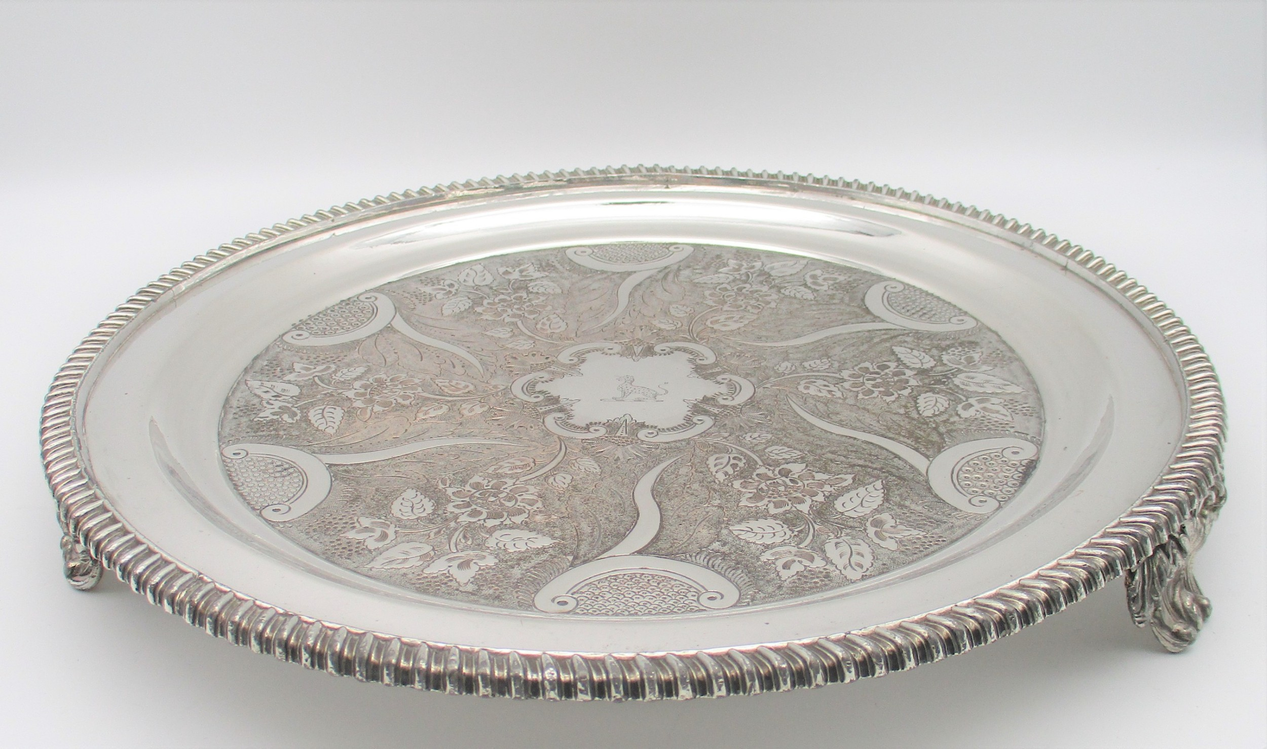 very fine old sheffield plated drinks tray with crest c1820